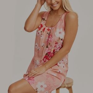 NWT Pink Floral Sleeveless Nightgown Print